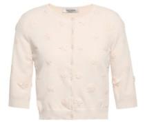 Cropped Floral-appliquéd Stretch-knit Cardigan Ecru