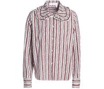 Ruffle-trimmed printed cotton-poplin shirt