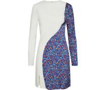 Paneled Printed Crepe Mini Dress Azure