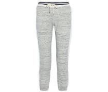 Gauze-trimmed mélange cotton-blend terry track pants