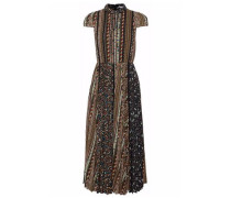 Lace-trimmed Pleated Printed Voile Midi Dress Black Size 0