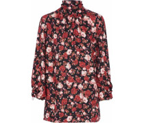 Wilma faux pearl-embellished floral-print twill turtleneck top