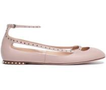 Crystal-studded Cutout Leather Ballet Flats Blush