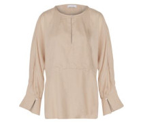 Abeille flared washed-crepe top