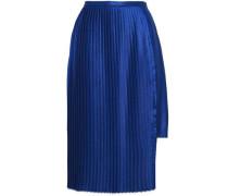 Pleated Crepe De Chine Mini Skirt Royal Blue