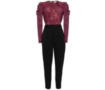 Paneled Cotton-blend Lace And Crepe Jumpsuit Merlot