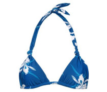 Knotted floral-print triangle bikini top