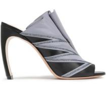 Glittered Zipper-embellished Leather Sandals Sky Blue