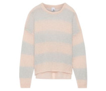 Laurina Striped Open-knit Mohair-blend Sweater Pastel Pink