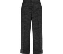 Checked wool-canvas straight-leg pants
