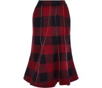 Fluted Gingham Wool-blend Flannel Midi Skirt Brick