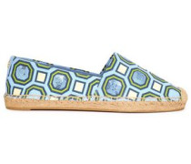 Sequin-embellished Printed Canvas Espadrilles Light Blue