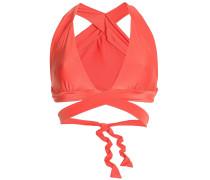 Woman Triangle Wrap Bikini Top Coral