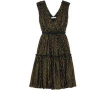 Woman Belted Metallic Fil Coupé Silk-blend Dress Black