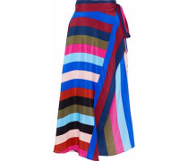 Striped silk-satin midi wrap skirt
