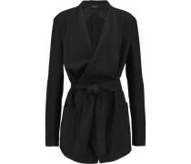 Belted draped crepe coat