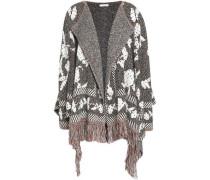 Fringe-trimmed jacquard-knit poncho