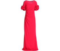 Ruffle-trimmed ruched crepe gown