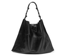Woman Knotted Textured-leather Tote Black