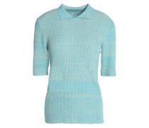 Mélange ribbed-knit top