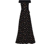 Heddon off-the-shoulder crepe-trimmed floral-jacquard cloqué gown