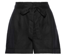 Wesley Pleated Linen And Tencel-blend Shorts Black