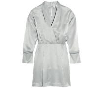 Vivien wrap-effect silk satin-jacquard mini dress