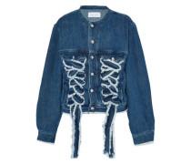 Lace-up frayed denim jacket