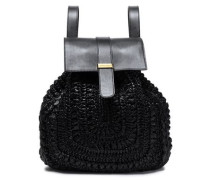 Woman Braided And Textured-leather Backpack Black