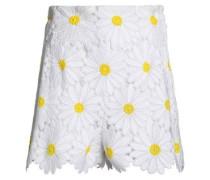 Floral-appliquéd cotton-blend tulle shorts