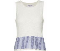 Two-tone Jacquard-trimmed Pointelle-knit Cotton-blend Top Off-white