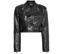 Cropped Textured-leather Biker Jacket Black