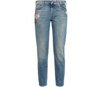 Embroidered Faded Mid-rise Slim-leg Jeans Mid Denim  8