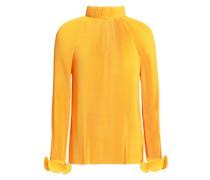 Fluted plissé-crepe de chine blouse