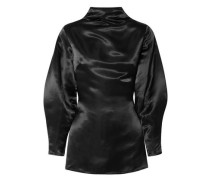 Stella Open-back Satin Blouse Black