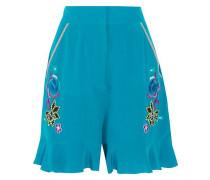 Appliquéd silk crepe de chine shorts