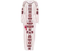 Camilla Embroidered Striped Cotton-gauze Midi Dress