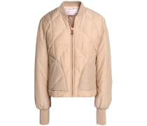 Quilted cotton-blend shell down bomber jacket
