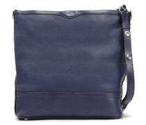 Woman Studded Smooth And Textured-leather Shoulder Bag Navy