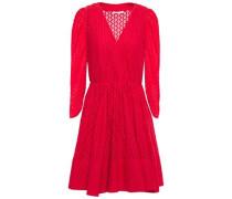 Woman Flared Lace Mini Dress Red
