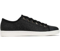 Rubber-trimmed jacquard sneakers