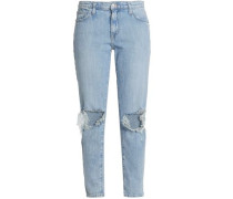 Nova Distressed Mid-rise Slim-leg Jeans Light Denim  5