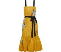 Embellished Printed Silk-faille Midi Dress Marigold