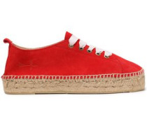 Suede Espadrille Sneakers Red