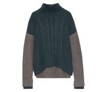 Almeta Two-tone Brushed-knitted Turtleneck Sweater Dark Green