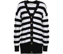 Striped Merino Wool-blend Cardigan White