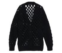 Open-knit Wool-blend Cardigan Black