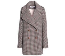 Double-breasted houndstooth wool-blend coat