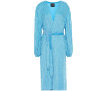 Woman Audrey Velvet-trimmed Sequined Chiffon Wrap Dress Azure
