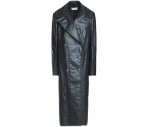 Double-breasted Coated-shell Coat Black